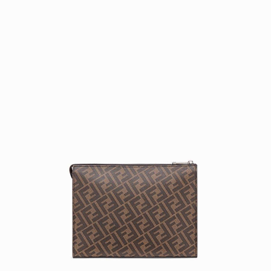 FENDI CLUTCH - Brown fabric pochette - view 3 detail