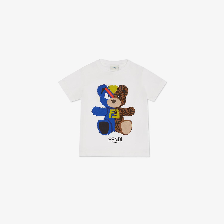 FENDI JUNIOR T-SHIRT - White jersey and multicolor print junior T-shirt - view 1 detail