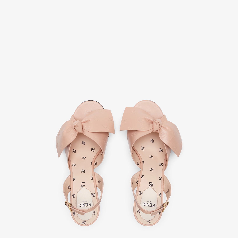 FENDI SANDALS - Pink leather sandals - view 4 detail