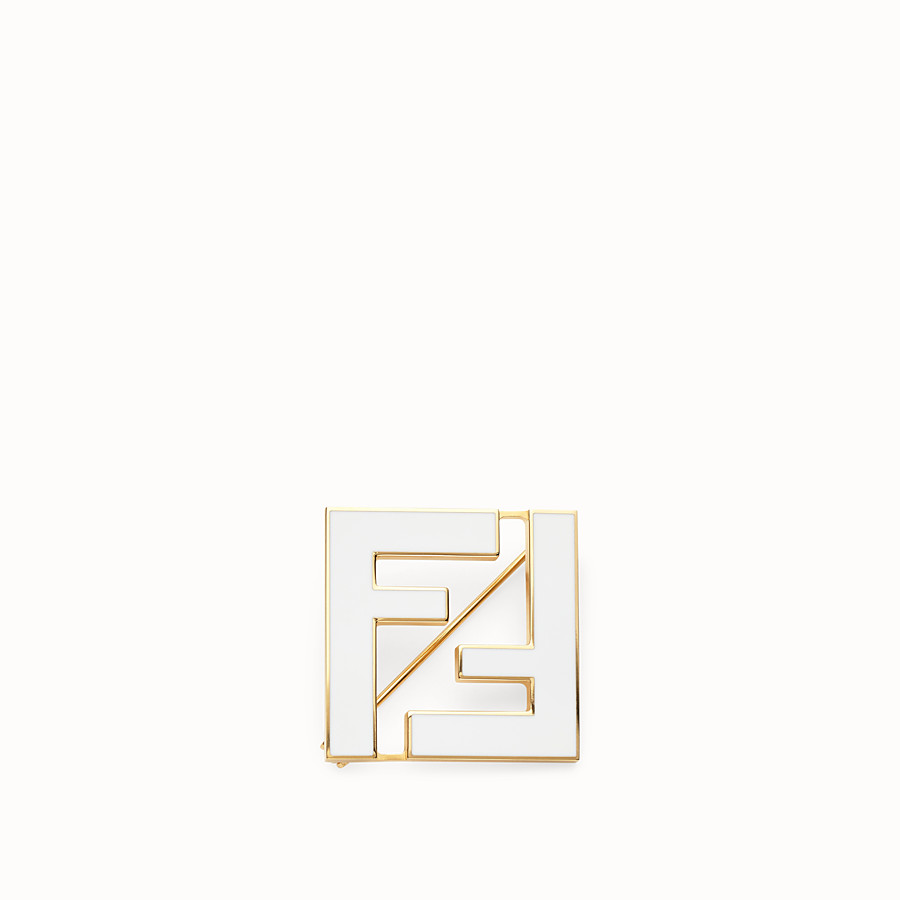 FENDI FF BROOCH - White metal brooch - view 1 detail