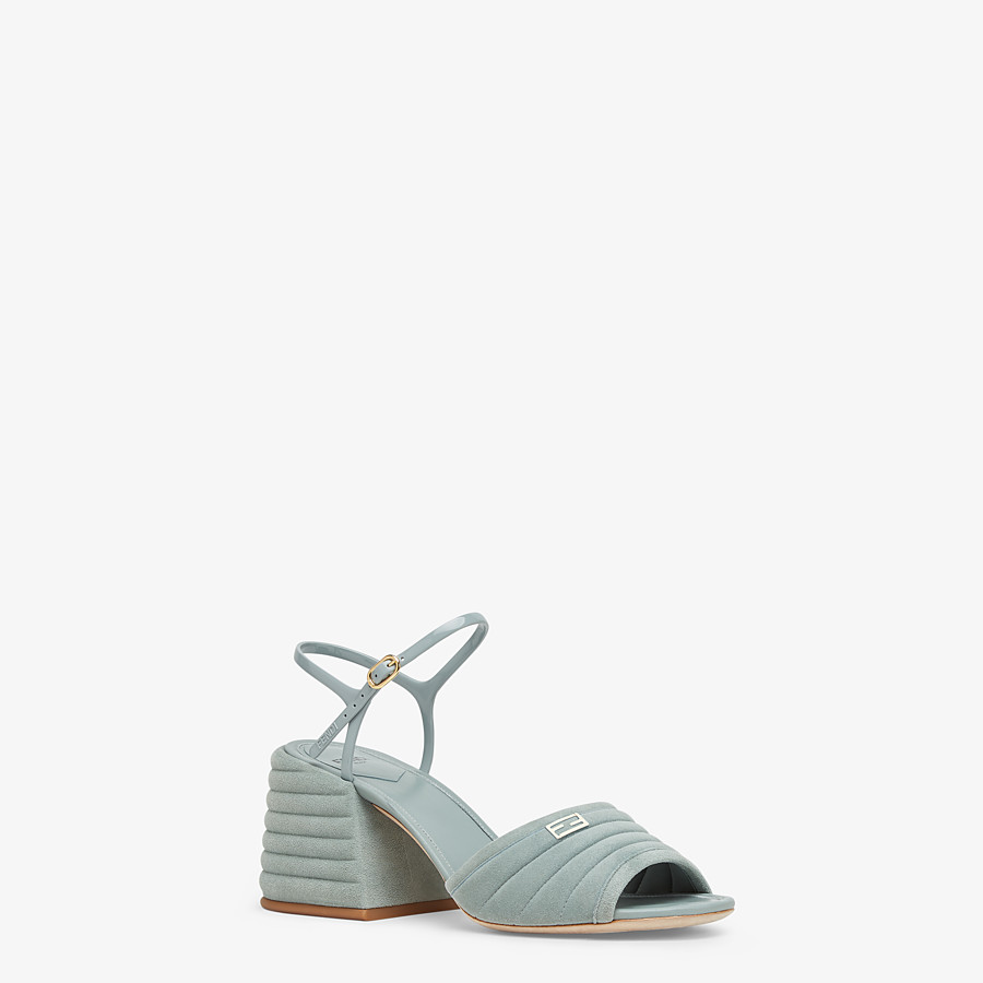 FENDI SANDALS - Light blue suede Promenades - view 2 detail