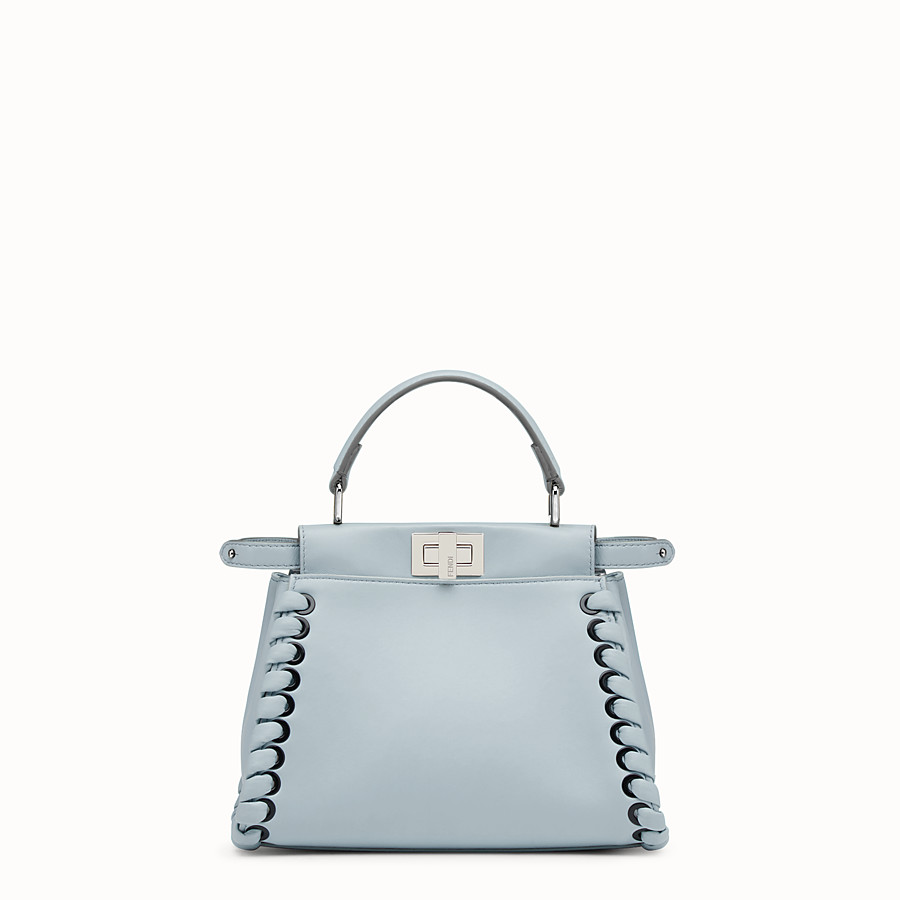 FENDI PEEKABOO MINI - Light blue nappa handbag with weaving - view 1 detail