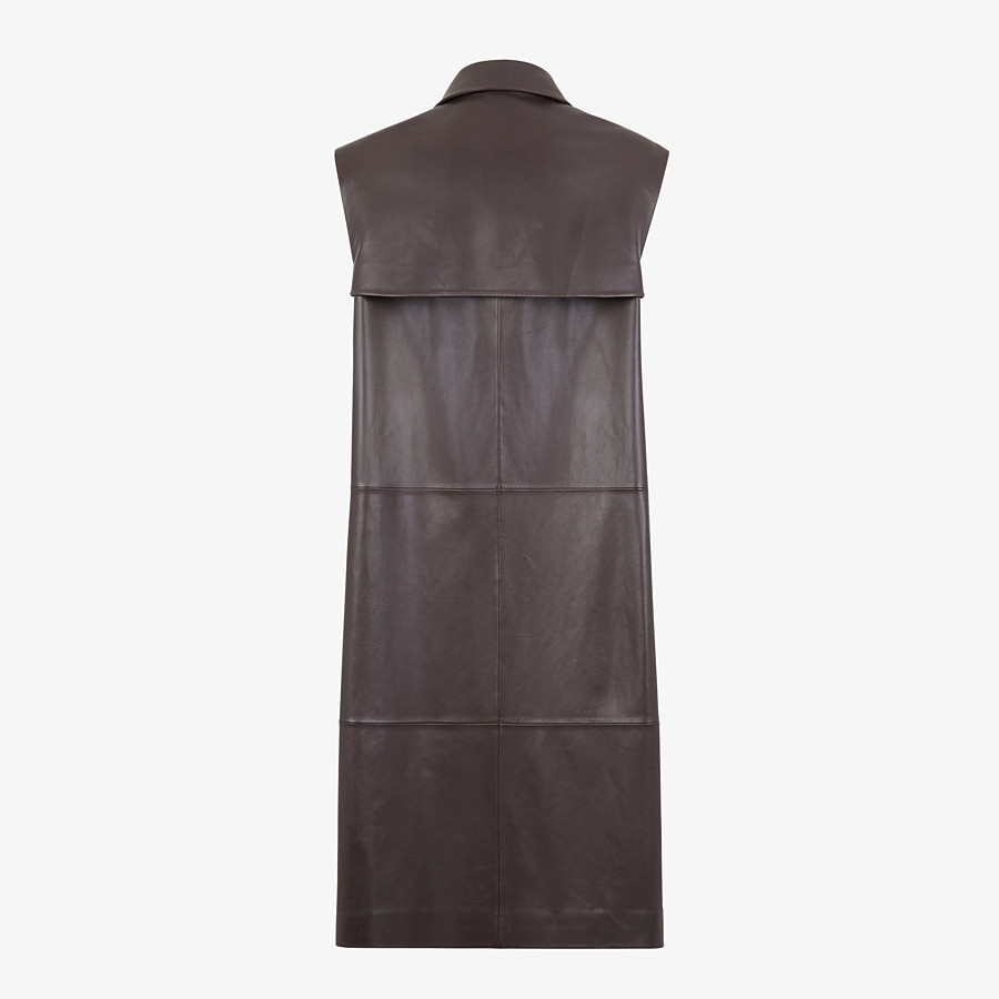FENDI TRENCH COAT - Brown leather vest - view 2 detail