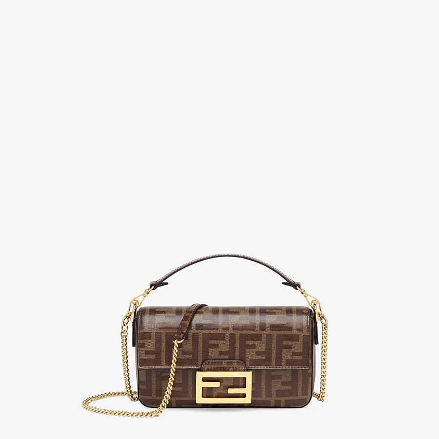 FENDI BAGUETTE MINI CAGE - Multicolor leather and fabric bag - view 3 detail
