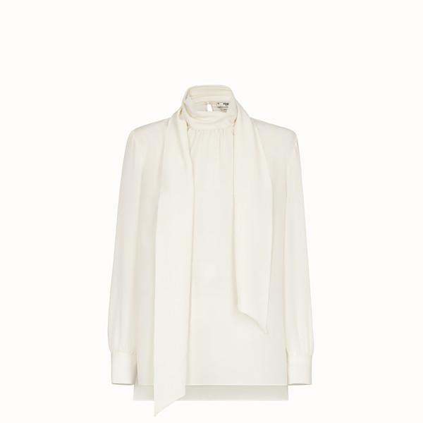 FENDI SHIRT - White crêpe de chine blouse - view 1 small thumbnail