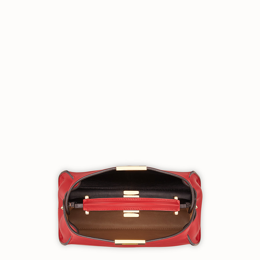 FENDI PEEKABOO ESSENTIAL - Red leather bag - view 4 detail