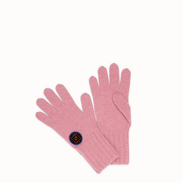 FENDI GLOVES - Pink wool and cashmere gloves - view 1 small thumbnail