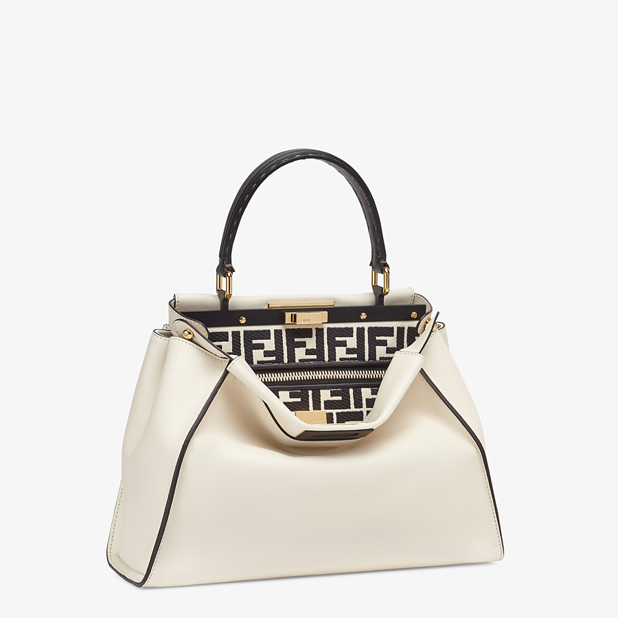 FENDI PEEKABOO ICONIC MEDIUM - White leather and FF embroidery bag - view 3 detail