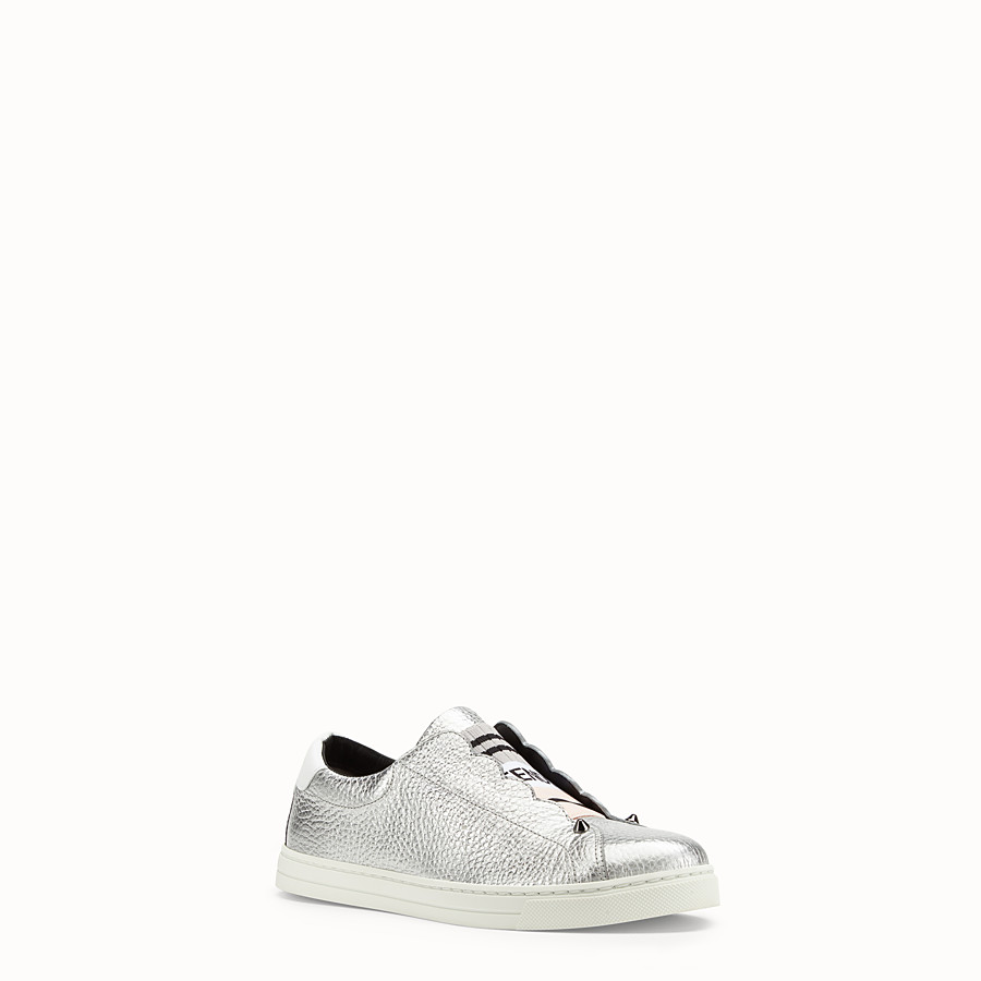 FENDI SNEAKERS - Silver leather sneakers - view 2 detail