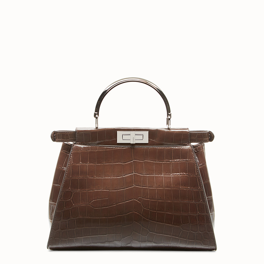 FENDI PEEKABOO REGULAR - Dark brown crocodile leather handbag. - view 3 detail