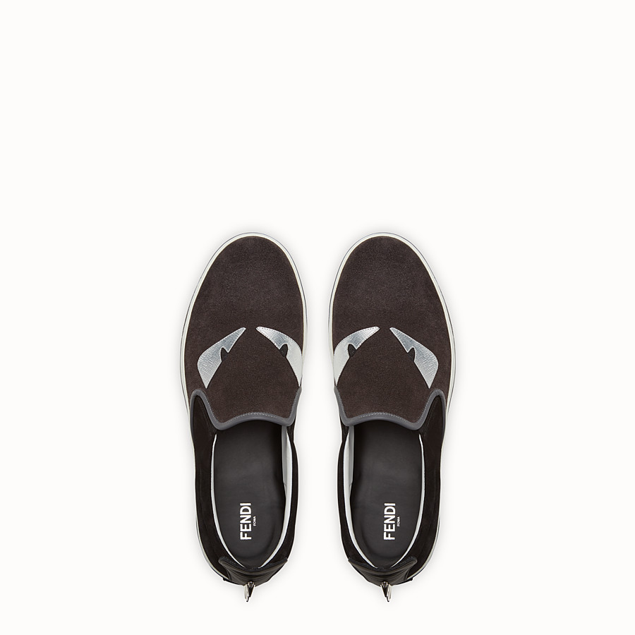 FENDI SNEAKER - black and grey suede slip-on - view 4 detail