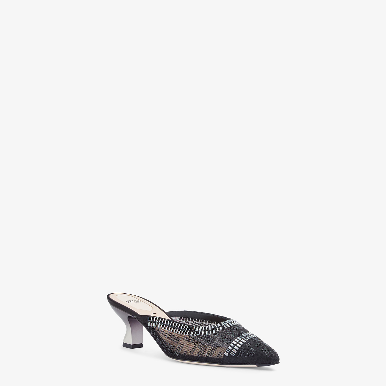 FENDI COLIBRÌ - Black mesh medium-heel sabots with rhinestone embroidery - view 2 detail