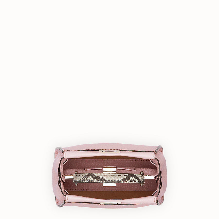 FENDI PEEKABOO MINI - Pink leather bag with exotic details - view 4 detail