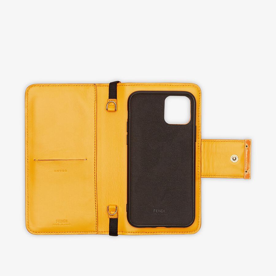 FENDI SMARTPHONE CASE - Orange nappa leather case - view 3 detail