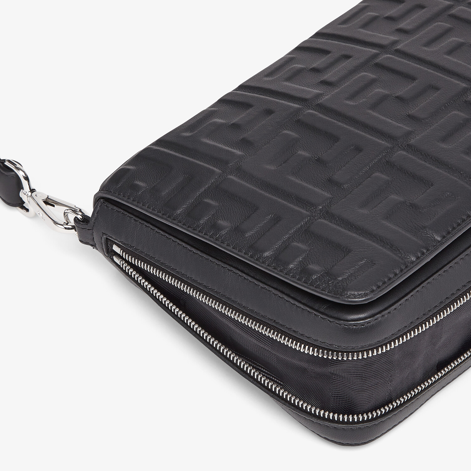 FENDI MESSENGER - Black nappa leather bag - view 6 detail