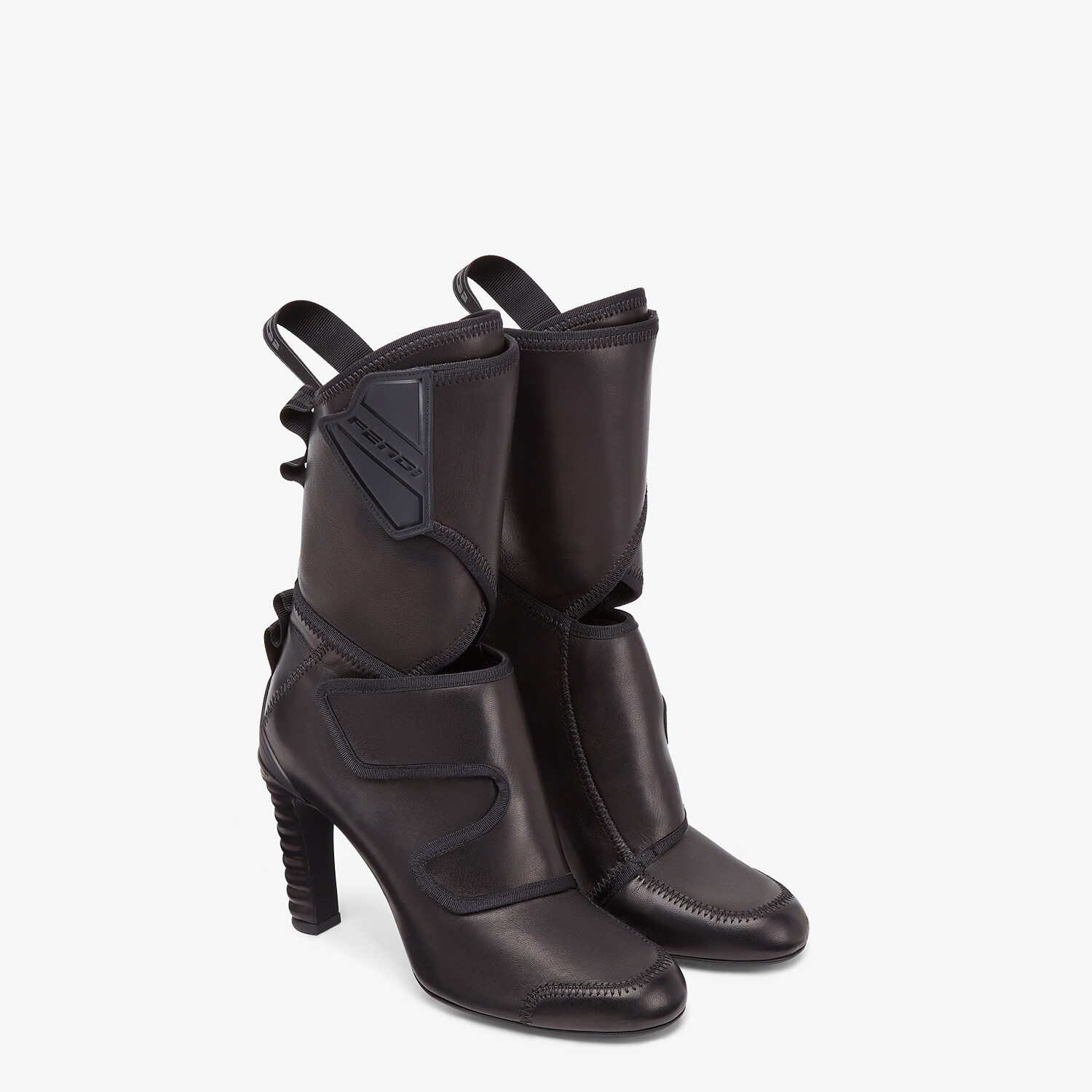 FENDI ANKLE BOOTS - Black leather Promenade Booties - view 4 detail