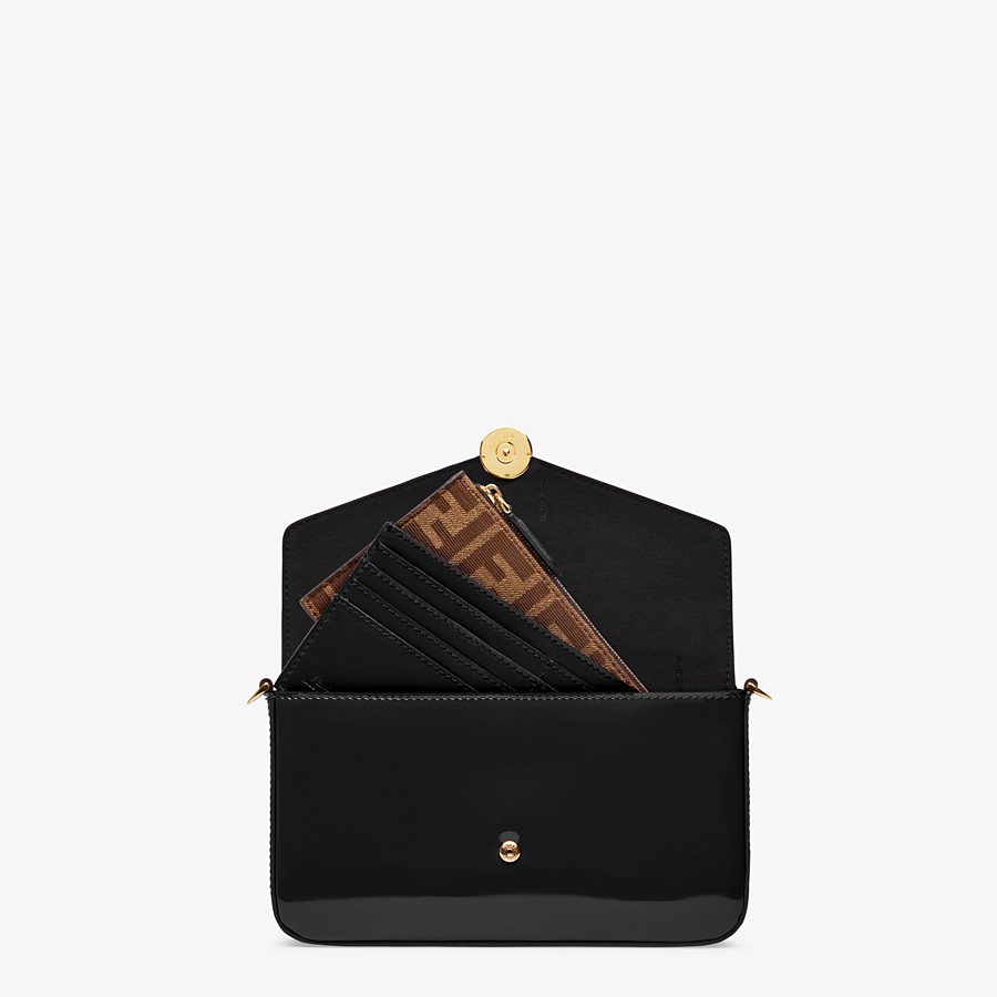 FENDI WALLET ON CHAIN WITH POUCHES - Minibag in vernice nera - vista 6 dettaglio