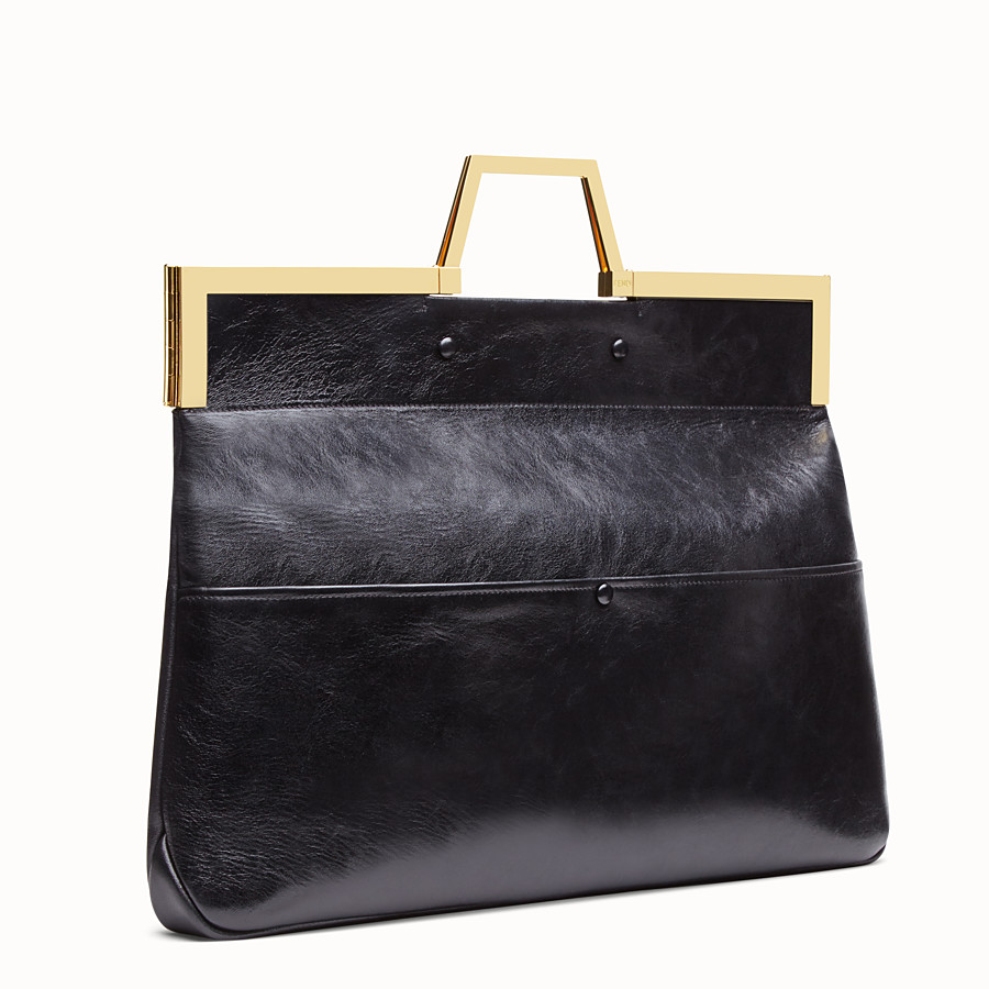 FENDI LARGE FLAT SHOPPING BAG - Black leather shopper - view 4 detail
