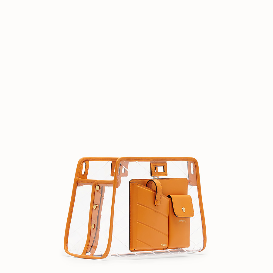 FENDI SMALL PEEKABOO DEFENDER - Orange leather Peekaboo cover - view 2 detail