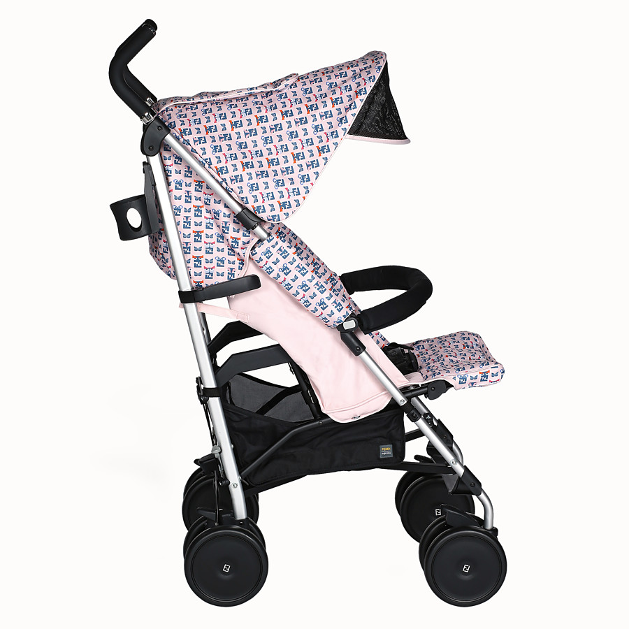 FENDI STROLLER - Pink stroller in fire-resistant material with monster pattern - view 3 detail