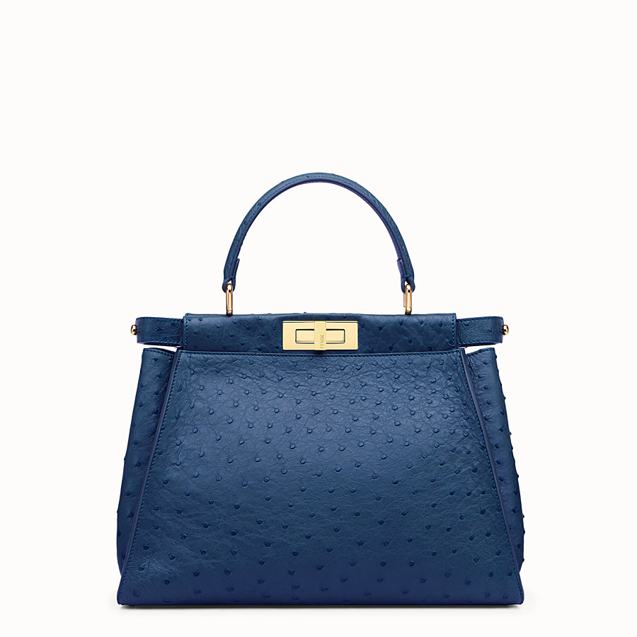 FENDI PEEKABOO ICONIC MEDIUM - Blue ostrich leather handbag. - view 1 detail