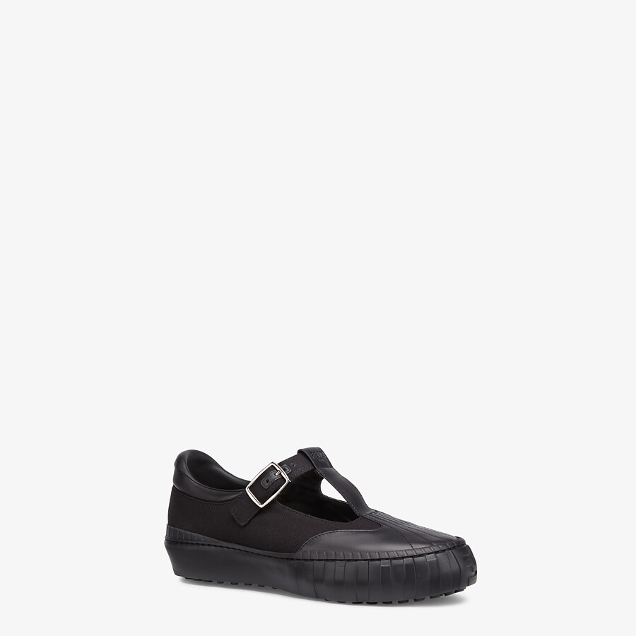 FENDI SNEAKERS - Black canvas low tops - view 2 detail