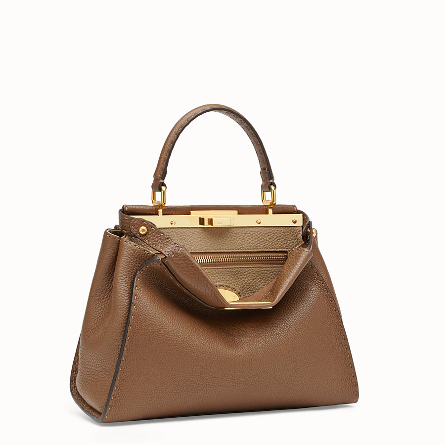FENDI PEEKABOO REGULAR - Brown leather bag - view 3 detail