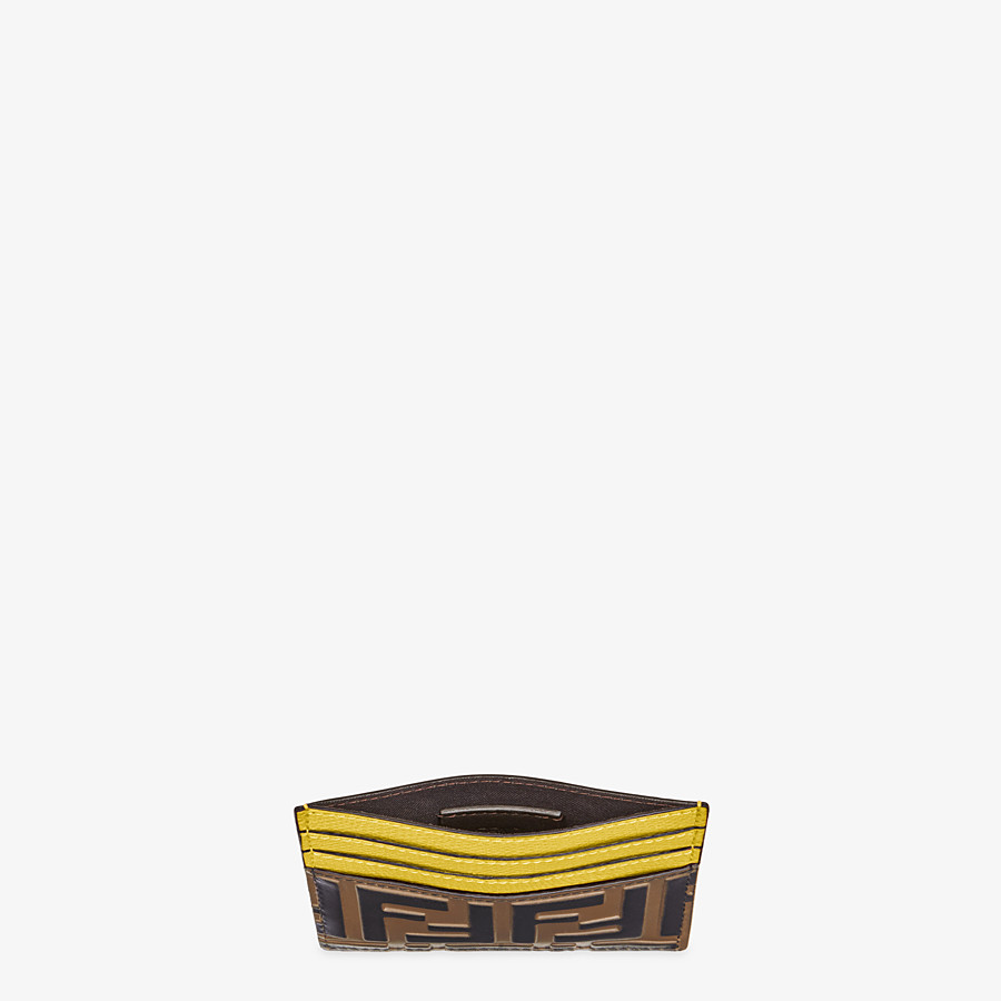 FENDI CARD HOLDER - Yellow leather flat card holder - view 4 detail