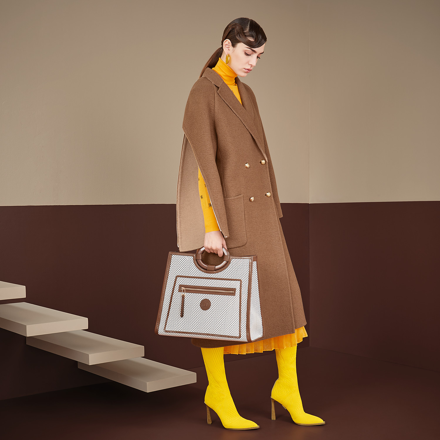 FENDI COAT - Beige camel coat - view 4 detail