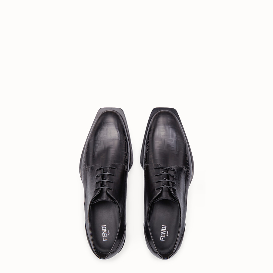 FENDI LACE-UPS - Black leather lace-up - view 4 detail