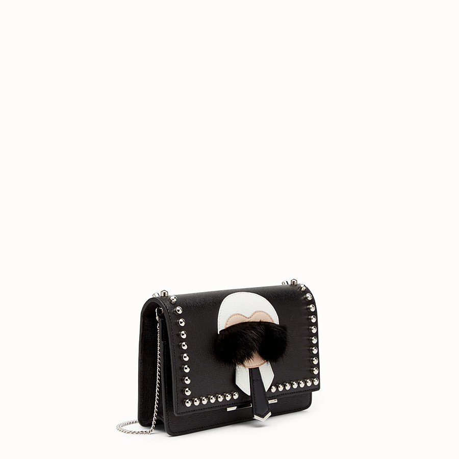 FENDI KARLITO WALLET ON CHAIN - in black leather with inlay - view 2 detail