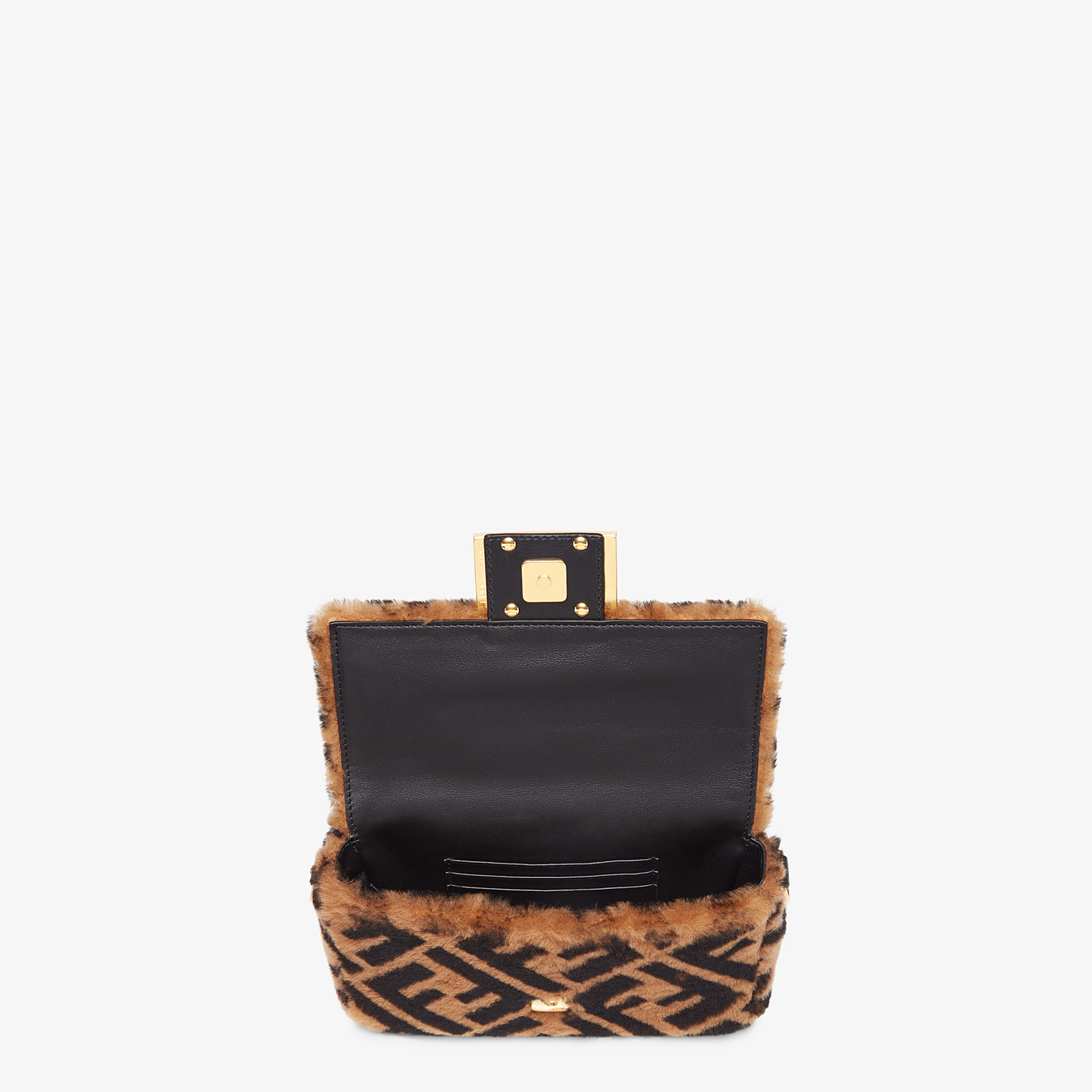 FENDI MINI BAGUETTE - Brown sheepskin bag - view 4 detail