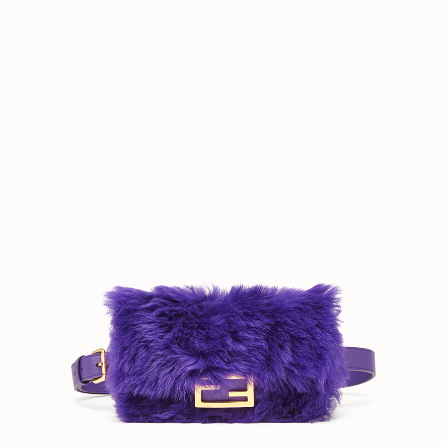 FENDI BELT BAG - Mini bag in purple sheepskin - view 1 detail