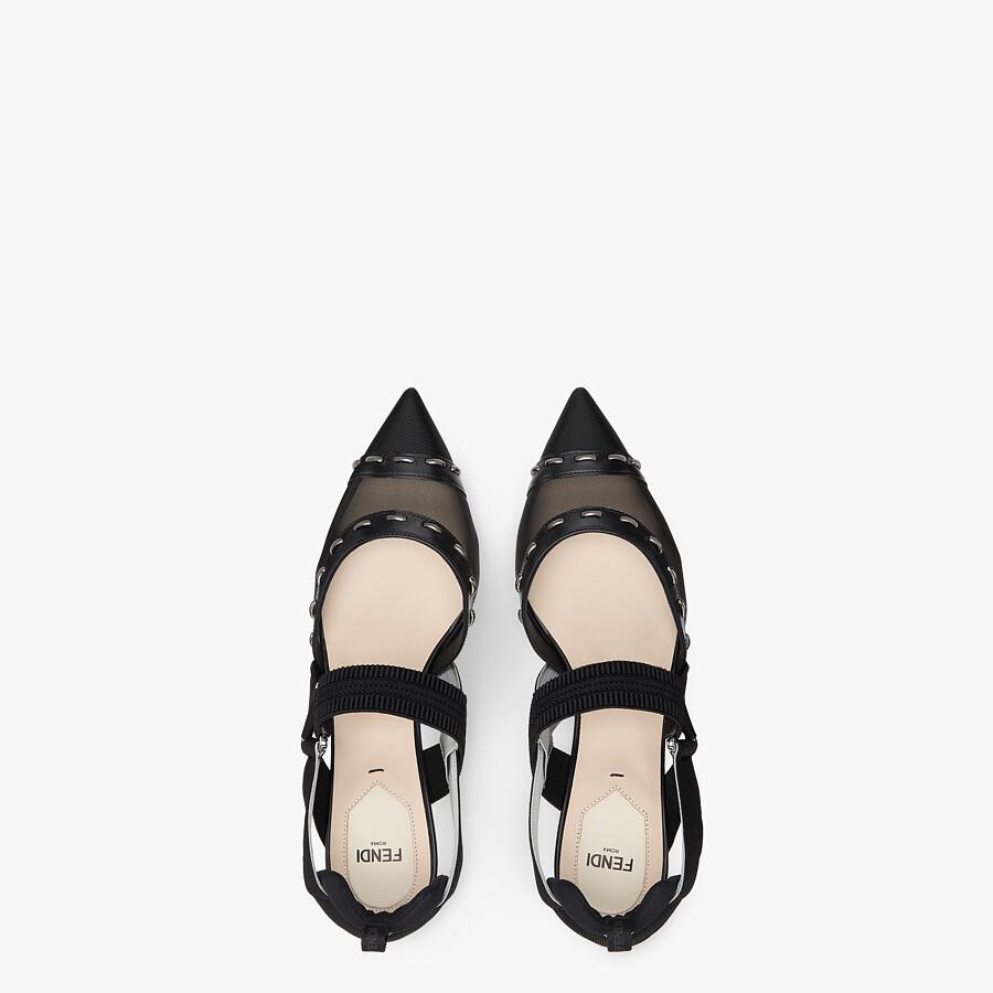 FENDI COLIBRÌ - Black mesh, medium-heel slingbacks with metal stitches - view 4 detail