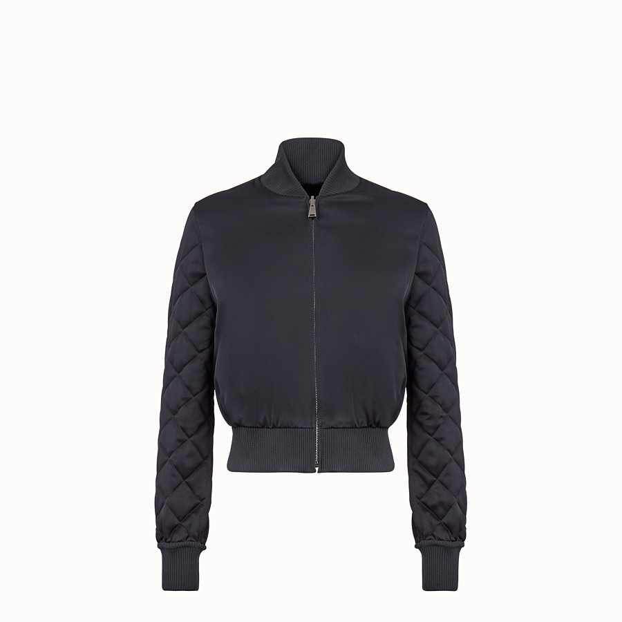 FENDI BOMBER - Black fabric and fur bomber jacket - view 2 detail