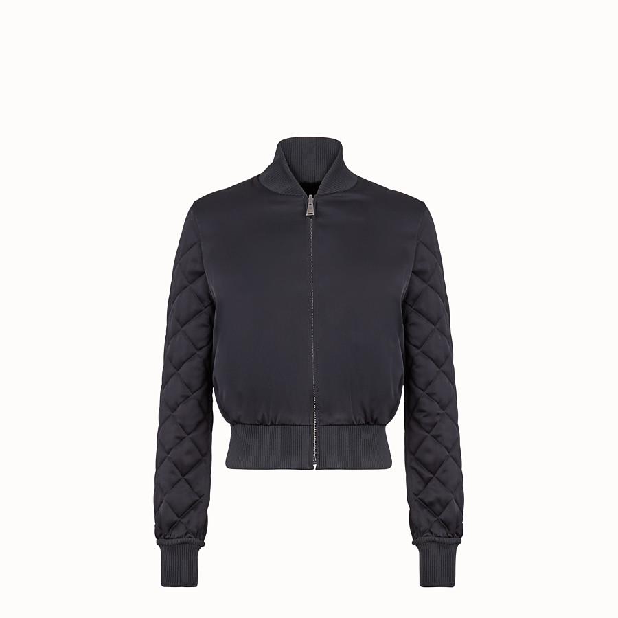 FENDI BOMBER - Black fabric and fur bomber jacket - view 2 detail