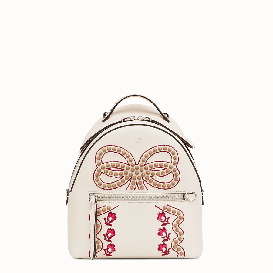 FENDI MINI BACKPACK - Small white leather backpack - view 1 detail