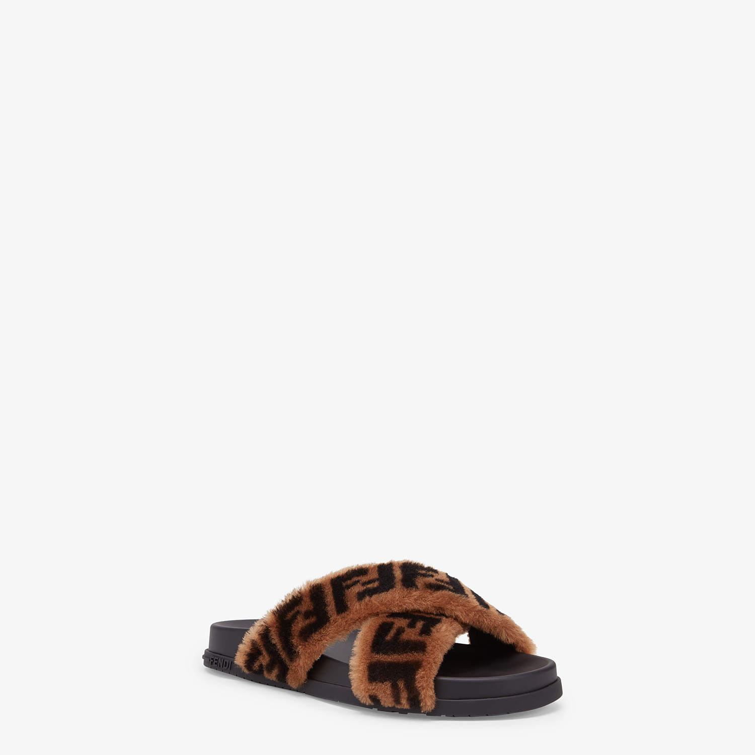 FENDI SLIDES - Brown sheepskin slides - view 2 detail
