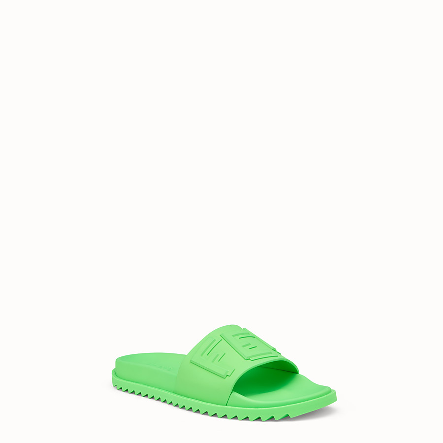 FENDI SLIDES - Fussbetts in green rubber - view 2 detail