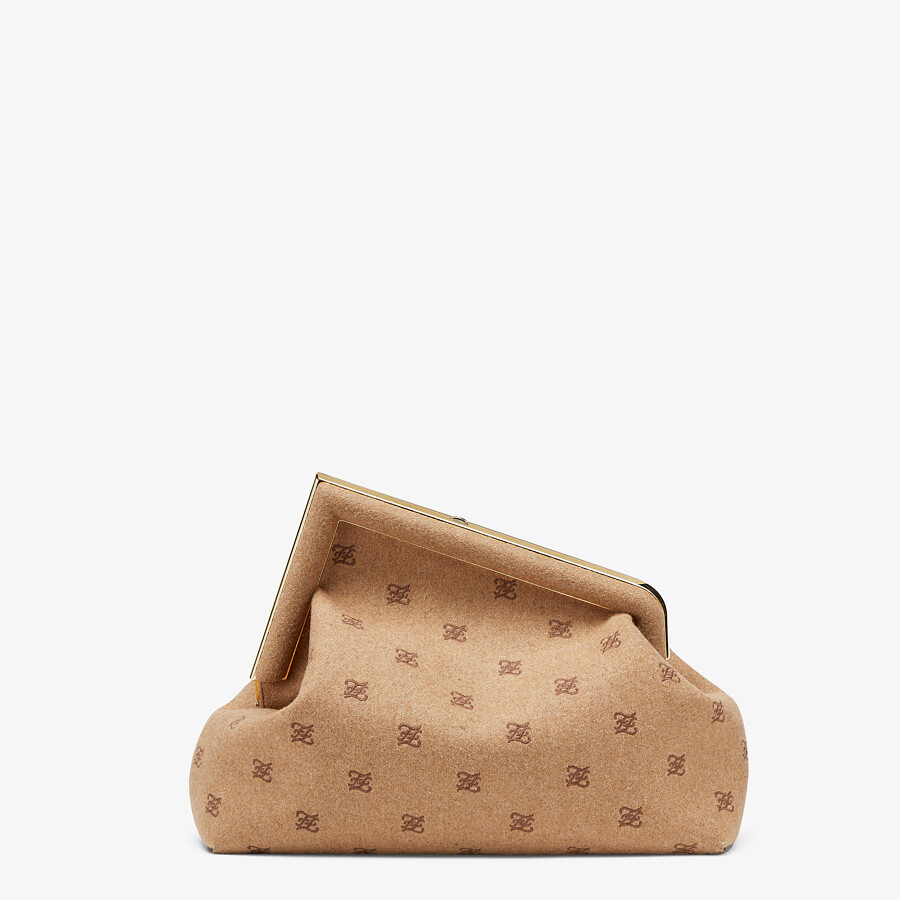 FENDI FENDI FIRST MEDIUM - Beige flannel bag with embroidery - view 4 detail