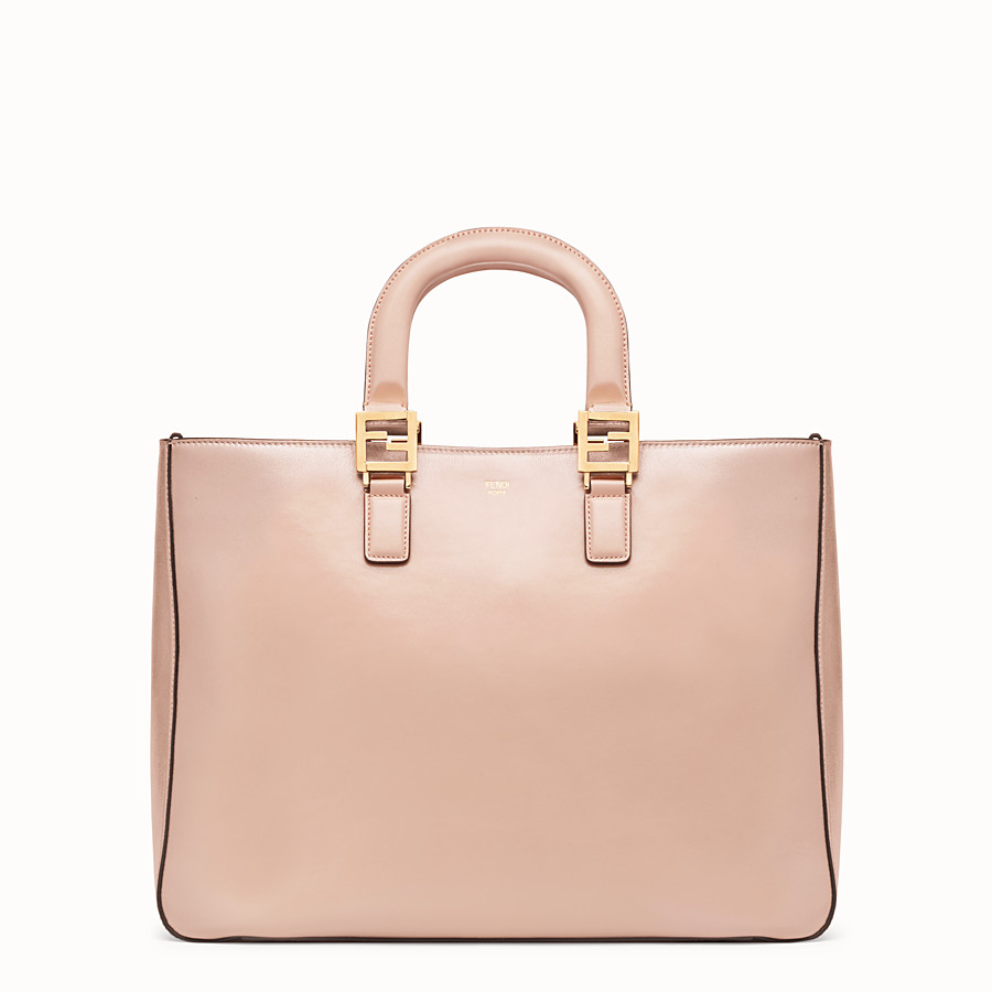 FENDI FF TOTE MEDIUM - Pink leather bag - view 1 detail