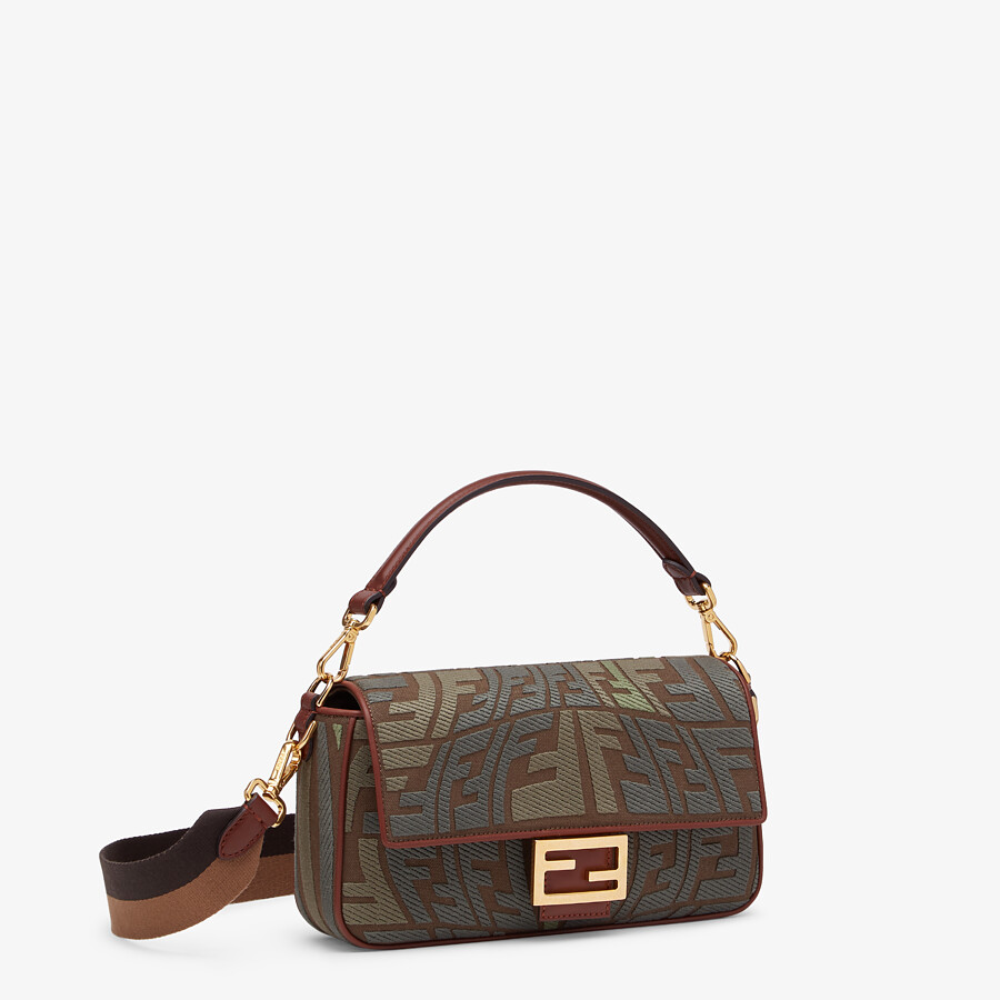 FENDI BAGUETTE - Embroidered green canvas bag - view 3 detail