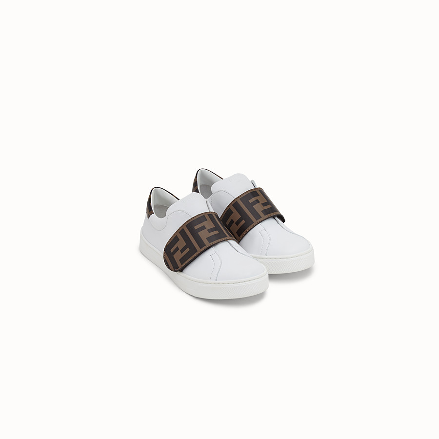 FENDI SNEAKERS - White leather first steps sneakers - view 2 detail