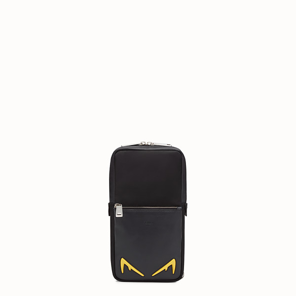 FENDI BELT BAG - One-shoulder backpack in black leather and nylon - view 1 small thumbnail