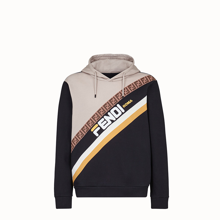 FENDI SWEATSHIRT - Black cotton jersey sweatshirt. - view 1 detail