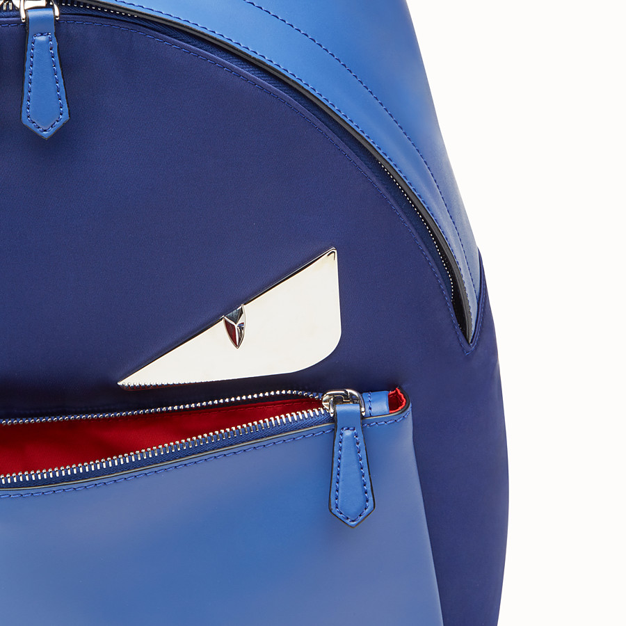 FENDI BAG BUGS BACKPACK - Fabric and blue leather backpack - view 4 detail