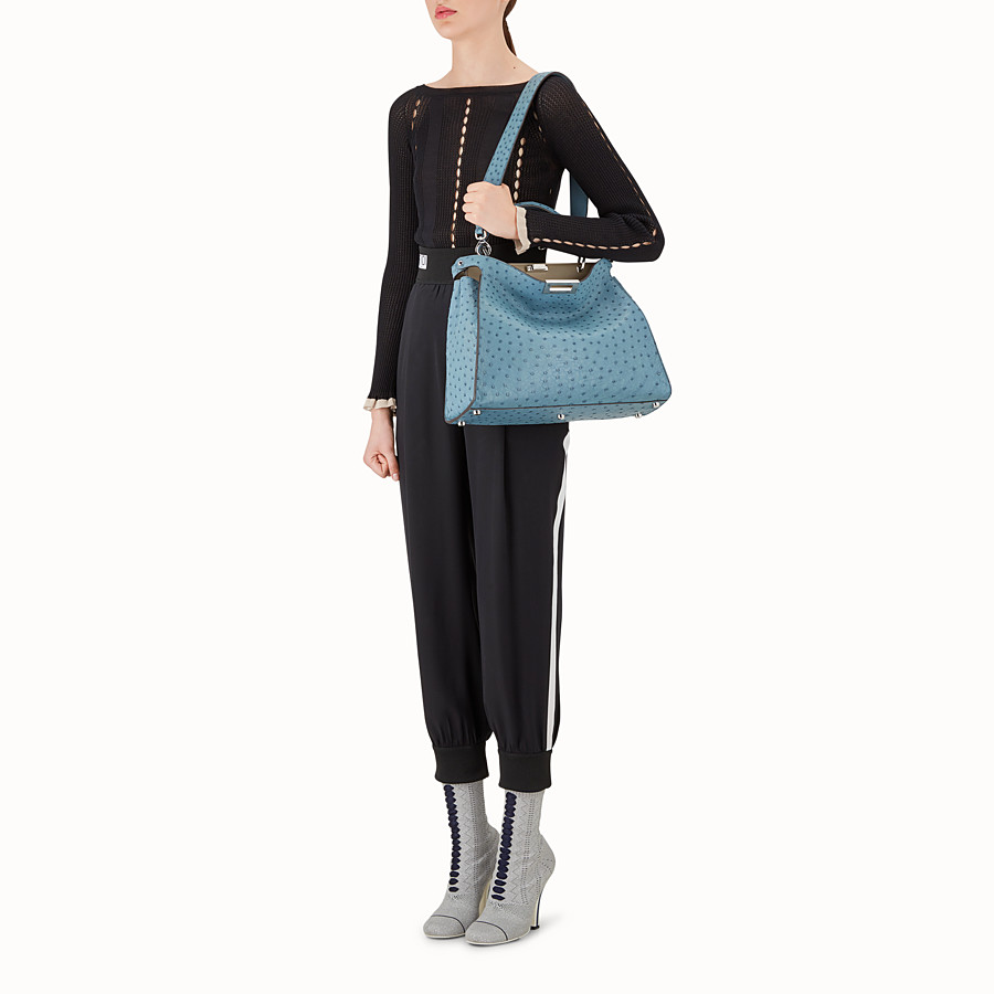 FENDI PEEKABOO ESSENTIAL - Light blue ostrich leather bag - view 5 detail