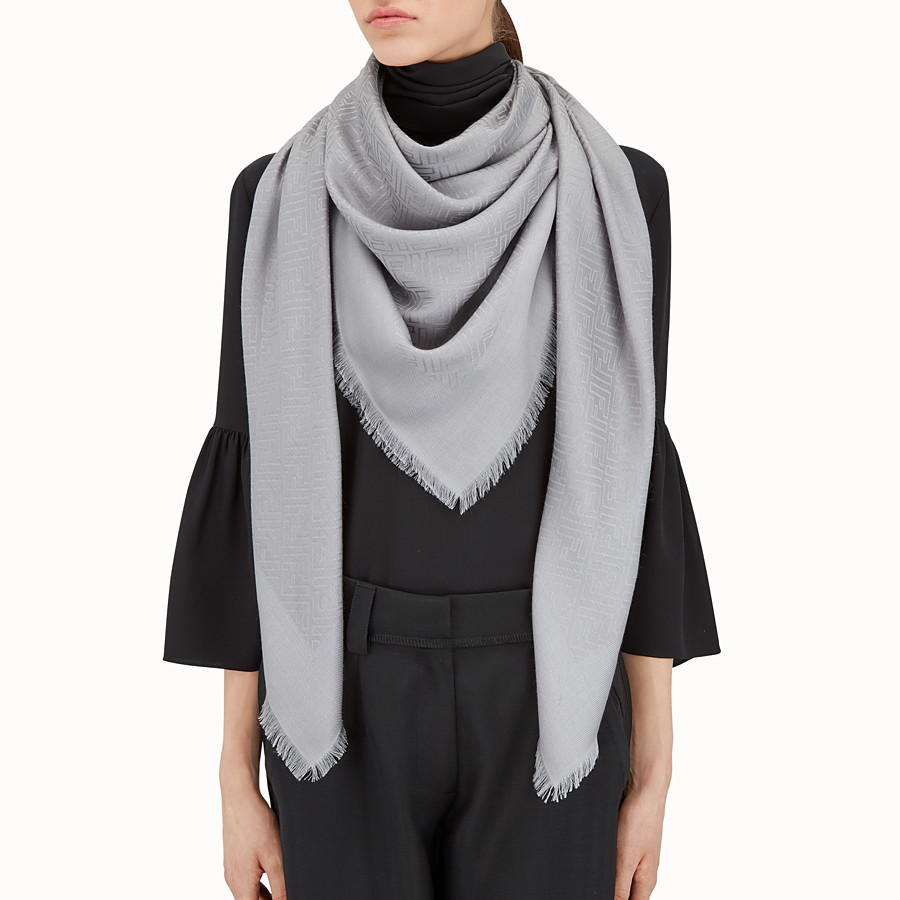 FENDI FF SHAWL - Grey silk and wool shawl - view 3 detail