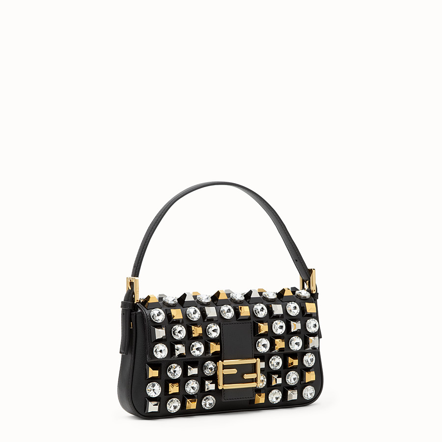 FENDI BAGUETTE - leather shoulder bag with studs and rhinestones - view 2 detail
