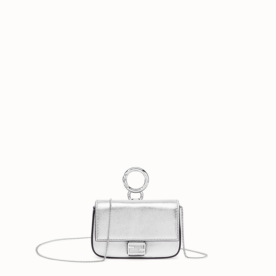 FENDI NANO BAGUETTE - Silver leather charm - view 1 detail